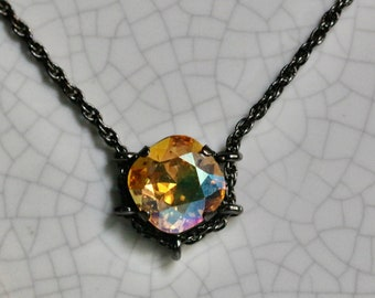 Swarovski 12mm Light Topaz Shimmer Square Hematite Cradle Necklace