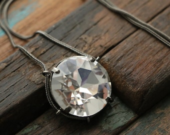 Swarovski Clear Crystal Cradle Pendant in Antique Silver
