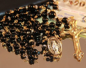 Catholic Black Onyx Rosary in Gold