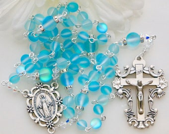 Catholic LARGE bead Aqua Mystic Quartz Rosary in Silver