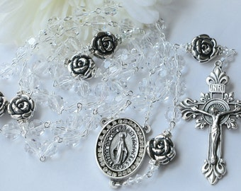 Catholic LARGE BEAD Swarovski Clear Crystal and Sterling Silver Rose Rosary