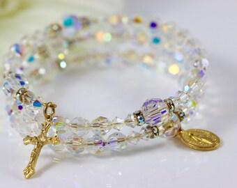 Wrap Rosary Bracelet in Swarovski AB Crystal and Gold