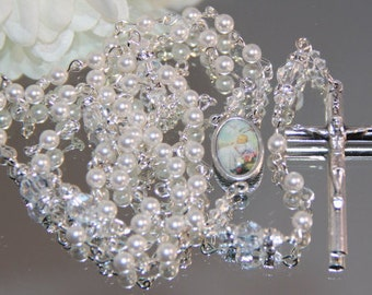 Catholic SMALL Bead Baptism Rosary in White Swarovski Pearl and Crystal