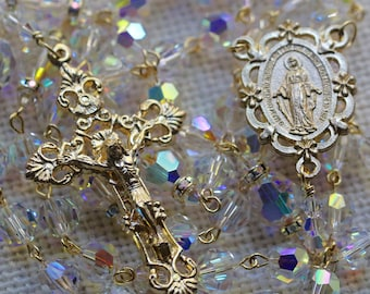 Catholic LARGE BEAD Swarovski AB Crystal Rosary in Gold