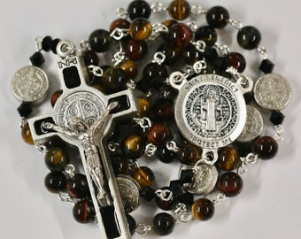 Catholic Grade AAA Multi Color Tiger Eye St Benedict Rosary in Silver