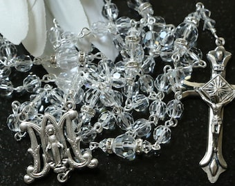 Catholic Swarovski Clear Crystal Rosary Beads