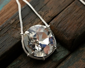 Swarovski Clear Crystal Cradle Pendant in Sterling Silver