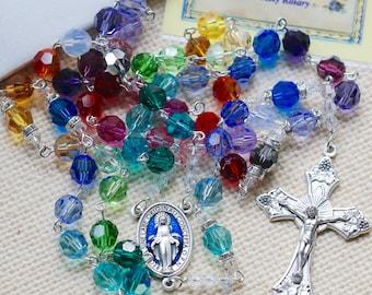 Catholic LARGE BEAD Swarovski Rainbow Pattern Rosary