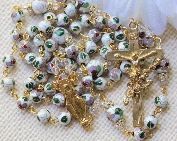 Featured listing image: Catholic White Cloisonné and Swarovski Crystal Rosary in Gold