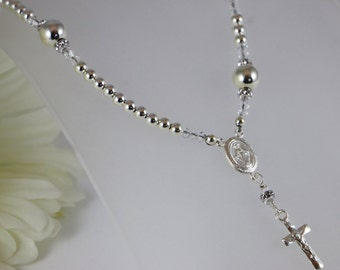 Sterling Silver Catholic Rosary Necklace
