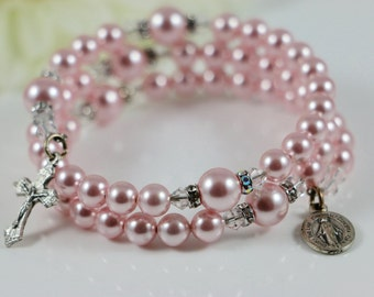 Catholic Swarovski Rosaline Pearl Wrap Rosary Bracelet