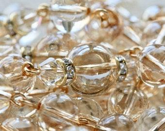 Catholic LARGE BEAD Swarovski Golden Shadow Globe Crystal Lady of Lourdes Rosary