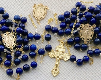 Blue Lapis Wedding Lasso in Gold