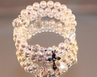Catholic Swarovski White Crystal Pearl Wrap Rosary Bracelet in Silver