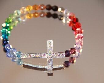 Swarovski Crystal Rainbow Rhinestone Cross Bracelet