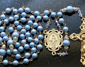 Catholic Swarovski Iridescent Light Blue Crystal Pearl Rosary in Gold