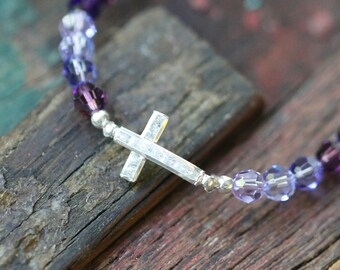 Sterling Silver Small CZ Sideway Cross and Swarovski Crystal Stretch Bracelet