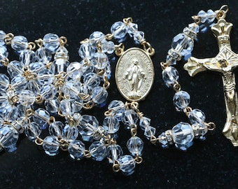 Catholic Swarovski Clear Crystal Rosary Beads in Gold