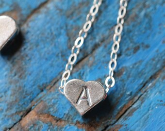 Sterling Silver Heart Floating Alphabet Charm Necklace