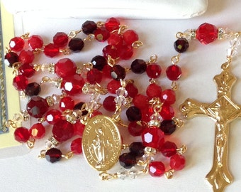 Catholic Swarovski Crystal Gold Rosary in Reds