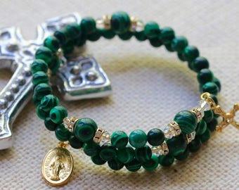 Malachite Catholic Wrap Rosary Bracelet in Gold