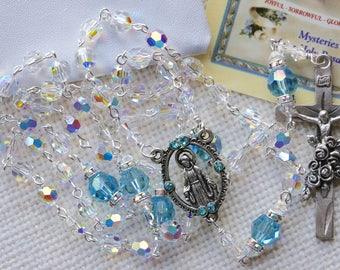 Catholic Swarovski AB Crystal and Aquamarine Rosary
