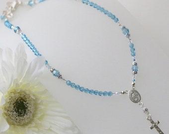 Swarovski Aquamarine Crystal Catholic Rosary Necklace