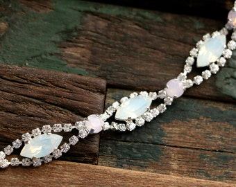 Swarovski Crystal White Opal Navette Wedding Tennis Bracelet