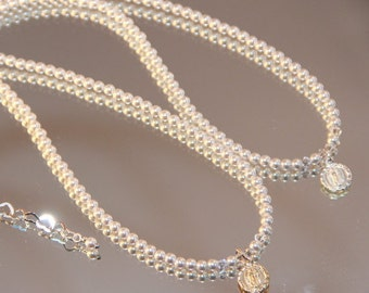 Miraculous Medal and Swarovski Pearl Necklace