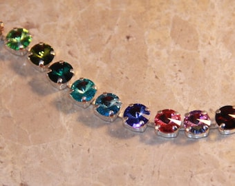 Swarovski Crystal Rainbow 8.5mm Tennis Bracelet