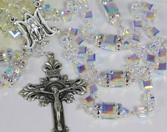 Catholic Swarovski Crystal AB Cube Rosary