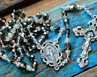 Catholic Swarovski Crystal Silver Night Rosary