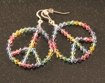 Swarovski Pastel Crystal Peace Sign Earrings
