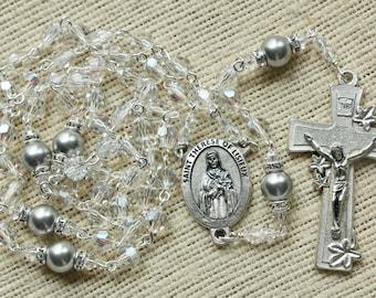 Catholic Swarovski Crystal Moonlight St Therese Rosary