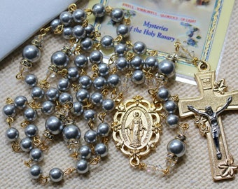Swarovski Light Gray/Silver Pearls and Gold Rosary
