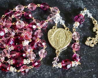 Catholic LARGE BEAD Swarovski Crystal Rosary in Pinks and Gold