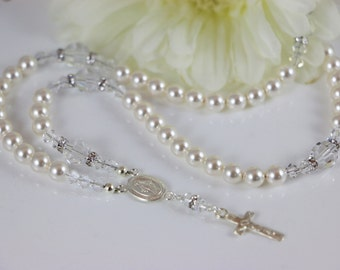 Catholic Rosary Necklace in Swarovski Crystal White Pearls and Sterling Silver