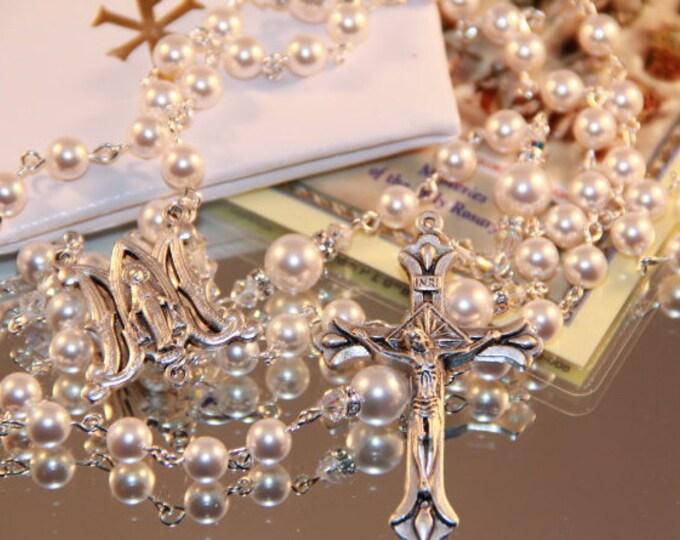 Featured listing image: Catholic Swarovski White Pearl Rosary