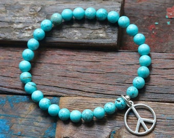 Turquoise Peace Stretch Bracelet