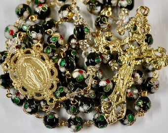 Catholic LARGE BEAD Black Cloisonné and Swarovski Crystal Rosary in Gold