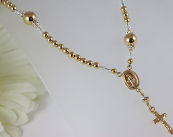 14K Gold Catholic Rosary Necklace