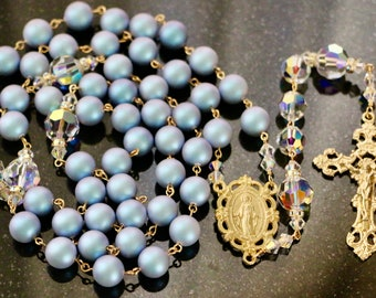 Catholic X-LARGE BEAD Swarovski Iridescent Light Blue Crystal Pearl and AB Crystal Rosary in Gold