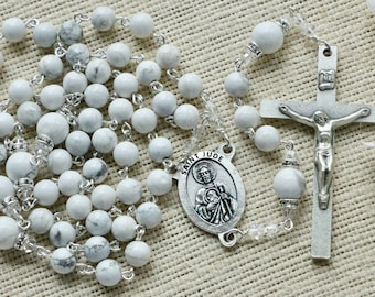 St Jude Rosary with Grade AAA Howlite Natural Gemstone Beads