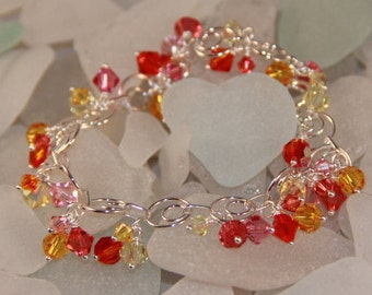 Sterling Silver and Swarovski Crystal Cluster Bracelet
