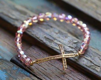 Gold Filled CZ Sideway Cross and Swarovski Crystal Stretch Bracelet