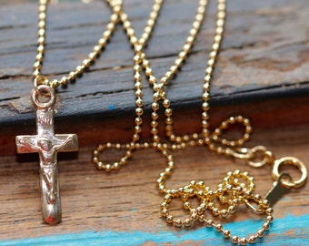 "14K Gold Filled Crucifix Necklace, 18"" 1.2mm Ball Chain or 16"" Flat Cable Chain"
