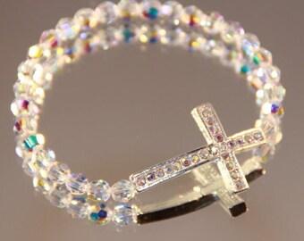 Swarovski Crystal and Rhinestone Sideways Cross Bracelet