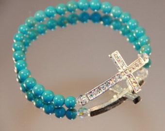 Turquoise and Rhinestone Sideways Cross Bracelet