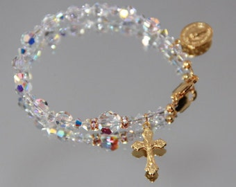 Swarovski One Decade Rosary Bracelet in AB Crystal and Gold