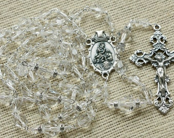 Catholic LARGE BEAD Swarovski Crystal Clear Rosary in Silver